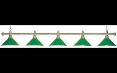 lampa 5 lampová zelené stínidlo/zlatá tyč
