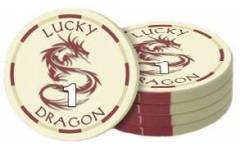 Poker chip Lucky Dragon - hodnota 1